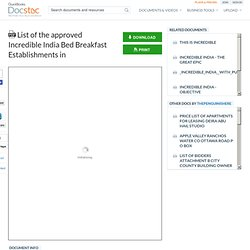 List of the approved Incredible India Bed Breakfast Establishments in