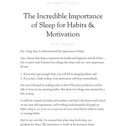 The Incredible Importance of Sleep for Habits & Motivation