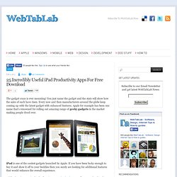 25 Incredibly Useful iPad Productivity Apps For Free Download | webtablab.com