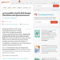 45 Incredibly Useful Web Design Checklists and Questionnaires - Smashing Magazine