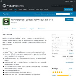 Qty Increment Buttons for WooCommerce – WordPress plugin