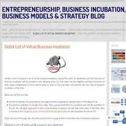 Entrepreneurship, Business Incubation, Business Models & Strategy Blog