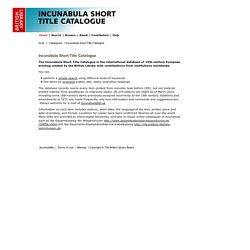 Incunabula Short Title Catalogue