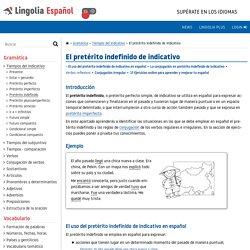 Pretérito indefinido - Lingolia Español