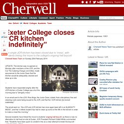 "Exeter College closes JCR kitchen ""indefinitely"""