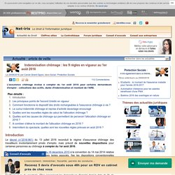 Indemnisation chômage : les 9 règles en vigueur au 1er août 2016