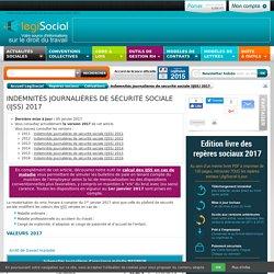 Indemnités journalières de sécurité sociale 2017 2016 2015 2014 2013 2012 2011