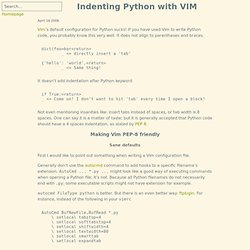 Indenting Python with VIM