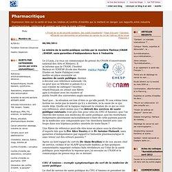 La misère de la santé publique cachée par le mastère Pasteur/CNAM/EHESP, sans garanties d'indépendance face à l'industrie