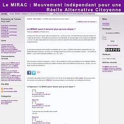 Le MIRAC : Mouvement Indépendant pour une Réelle Alternative Citoyenne » Archives du Blog » Le MIRAC peut-il devenir plus qu'une utopie ?