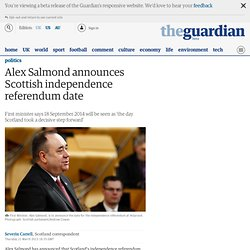 Alex Salmond announces Scottish independence referendum date