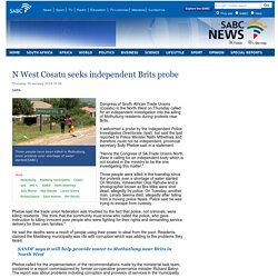 N West Cosatu seeks independent Brits probe:Thursday 16 January 2014