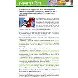 plainte contre le rapport final de la scenihr - omission problèmes electro sensibles