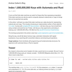 Index 1,600,000,000 Keys with Automata and Rust - Andrew Gallant's Blog