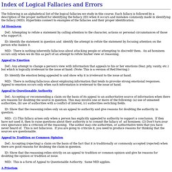 Index of Fallacies