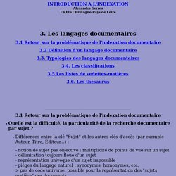 Indexation Langages documentaires