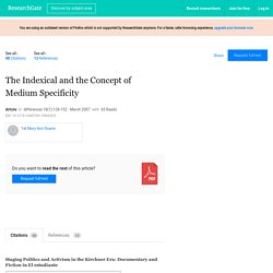 The Indexical and the Concept of Medium Specificity