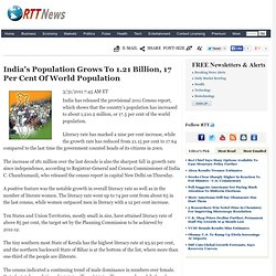 India's Population Grows To 1.21 Billion