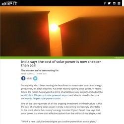 The cost of solar power is now cheaper than coal in this country