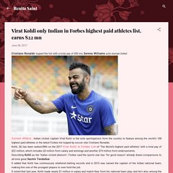 Virat Kohli only Indian in Forbes highest paid athletes list, earns $22 mn