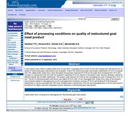 Indian Journal of Small Ruminants (The) - 2013 - Effect of processing conditions on quality of restructured goat meat product