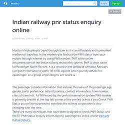 Indian railway pnr status enquiry online