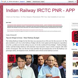 Indian Railway IRCTC PNR - APP: Top six things to know - New Railway Budget