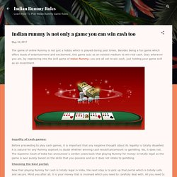 Indian rummy is not only a game you can win cash too
