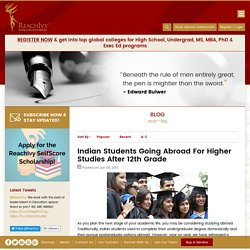 Indian Students Going Abroad For Higher Studies After 12th Grade - Blog