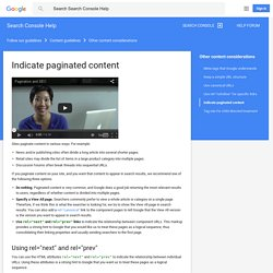 Indicate paginated content - Search Console Help