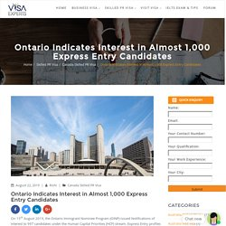 Ontario Indicates Interest in Almost 1,000 Express Entry Candidates
