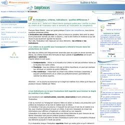 En évaluation, critères, indicateurs : quelles différences ?- Compétences