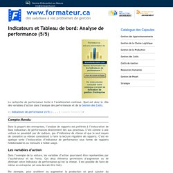 Indicateurs et Tableau de bord: analyse de performance (5/5)