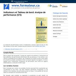 1 - Indicateurs et Tableau de bord: analyse de performance (5/5)