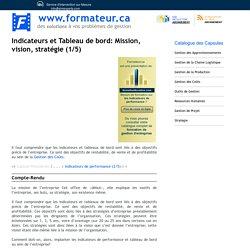 Indicateurs et Tableau de bord: mission, vision, stratégie (1/5)