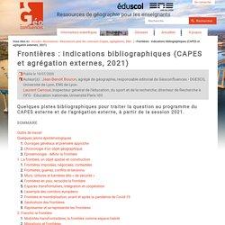 Frontières : indications bibliographiques (CAPES et agrégation externes, 2021)