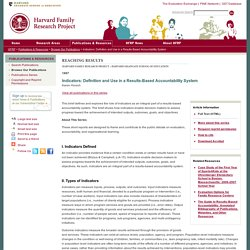 Indicators: Definition and Use in a Results-Based Accountability System