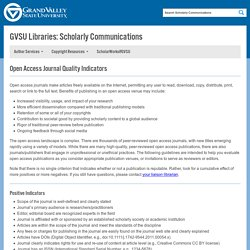 Open Access Journal Quality Indicators - GVSU Libraries: Scholarly Communications - Grand Valley State University