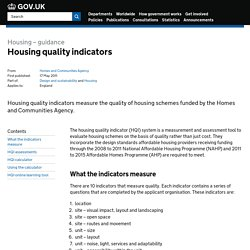 Housing quality indicators - Detailed guidance