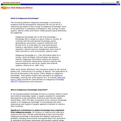 What is Indigenous Knowledge - Definition - Bibliography - Links