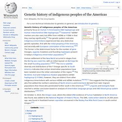 Genetic history of indigenous peoples of the Americas