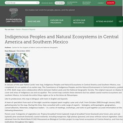 Indigenous Peoples and Natural Ecosystems in Central America and Southern Mexico