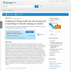 Indigenous frameworks for observing and responding to climate change in Alaska
