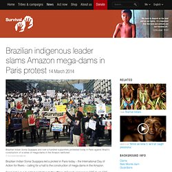 Brazilian indigenous leader slams Amazon mega-dams in Paris protest