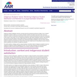15-1 Indigenous Students Voices: Monitoring Indigenous Student Satisfaction and Retention in a Large Australian University