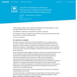 Empleo Consultor Individual para Asistencia Técnica para el componente de Educación y Primera Infancia 2020 (6 meses), Quito - UNICEF - United Nations Children's Fund