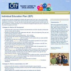 Individual Education Plan (IEP)