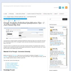 Google Analytics Individual Qualification Tips – I Just Passed My Test