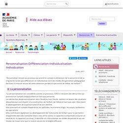 Personnalisation-Différenciation-Individualisation-Individuation