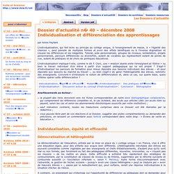 Individualisation et différenciation des apprentissages – dossier de l'IFE
